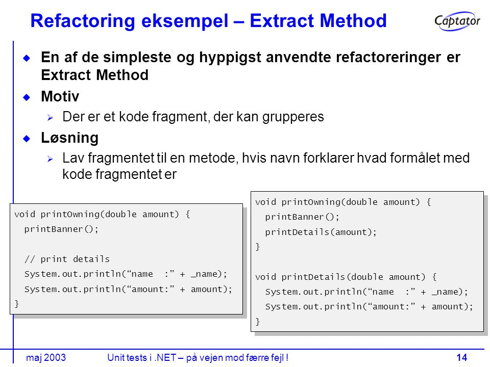 maj 2003Unit tests i.NET – på vejen mod færre fejl !14 Refactoring eksempel – Extract Method En af de simpleste og hyppigst anvendte refactoreringer er Extract Method Motiv Der er et kode fragment, der kan grupperes Løsning Lav fragmentet til en metode, hvis navn forklarer hvad formålet med kode fragmentet er void printOwning(double amount) { printBanner(); // print details System.out.println( name : + _name); System.out.println( amount: + amount); } void printOwning(double amount) { printBanner(); // print details System.out.println( name : + _name); System.out.println( amount: + amount); } void printOwning(double amount) { printBanner(); printDetails(amount); } void printDetails(double amount) { System.out.println( name : + _name); System.out.println( amount: + amount); } void printOwning(double amount) { printBanner(); printDetails(amount); } void printDetails(double amount) { System.out.println( name : + _name); System.out.println( amount: + amount); }