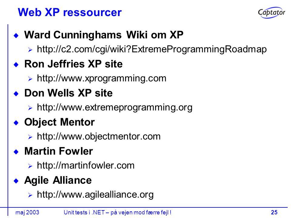 maj 2003Unit tests i.NET – på vejen mod færre fejl !25 Web XP ressourcer Ward Cunninghams Wiki om XP http://c2.com/cgi/wiki ExtremeProgrammingRoadmap Ron Jeffries XP site http://www.xprogramming.com Don Wells XP site http://www.extremeprogramming.org Object Mentor http://www.objectmentor.com Martin Fowler http://martinfowler.com Agile Alliance http://www.agilealliance.org