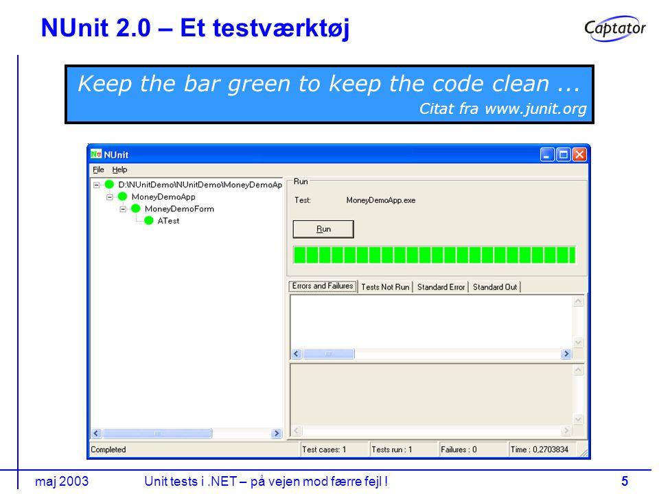 maj 2003Unit tests i.NET – på vejen mod færre fejl !5 NUnit 2.0 – Et testværktøj Keep the bar green to keep the code clean...