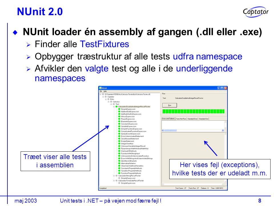 maj 2003Unit tests i.NET – på vejen mod færre fejl !8 NUnit 2.0 NUnit loader én assembly af gangen (.dll eller.exe) Finder alle TestFixtures Opbygger træstruktur af alle tests udfra namespace Afvikler den valgte test og alle i de underliggende namespaces Træet viser alle tests i assemblien Her vises fejl (exceptions), hvilke tests der er udeladt m.m.