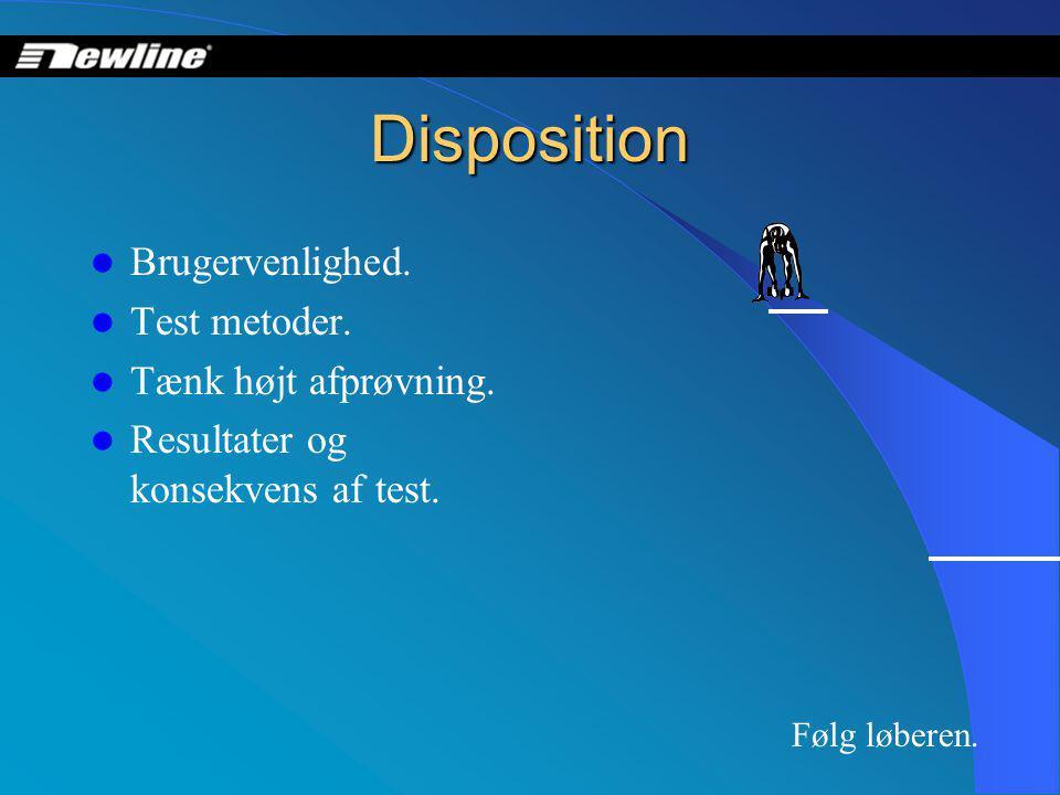Disposition  Brugervenlighed.  Test metoder.  Tænk højt afprøvning.