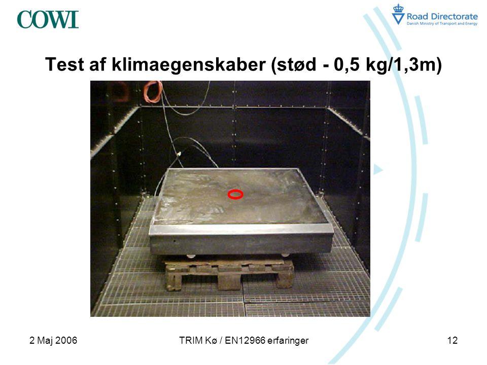 2 Maj 2006TRIM Kø / EN12966 erfaringer12 Test af klimaegenskaber (stød - 0,5 kg/1,3m)