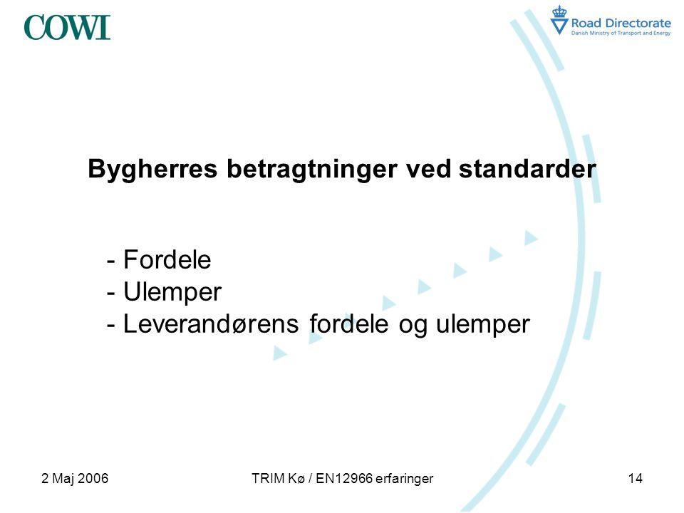 2 Maj 2006TRIM Kø / EN12966 erfaringer14 Bygherres betragtninger ved standarder - Fordele - Ulemper - Leverandørens fordele og ulemper