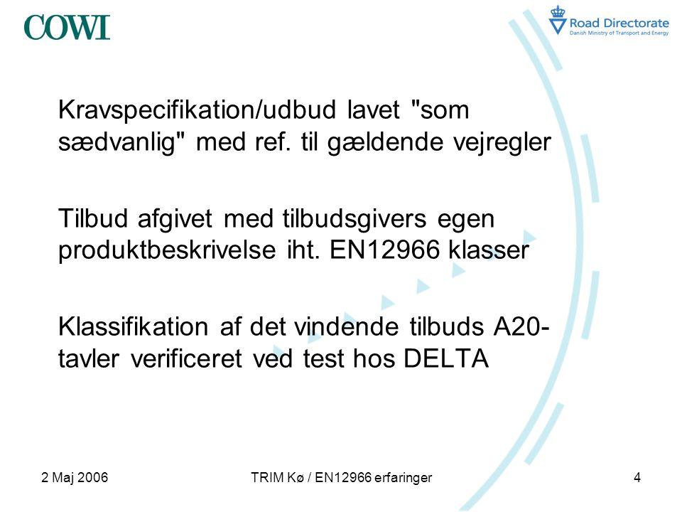 2 Maj 2006TRIM Kø / EN12966 erfaringer4 Kravspecifikation/udbud lavet som sædvanlig med ref.