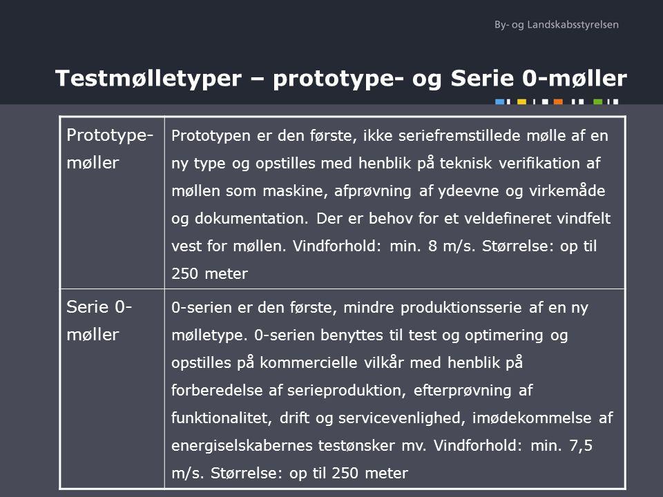 Testmølletyper – prototype- og Serie 0-møller Prototype- møller Prototypen er den første, ikke seriefremstillede mølle af en ny type og opstilles med henblik på teknisk verifikation af møllen som maskine, afprøvning af ydeevne og virkemåde og dokumentation.