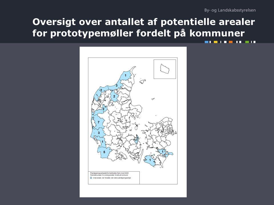 Oversigt over antallet af potentielle arealer for prototypemøller fordelt på kommuner
