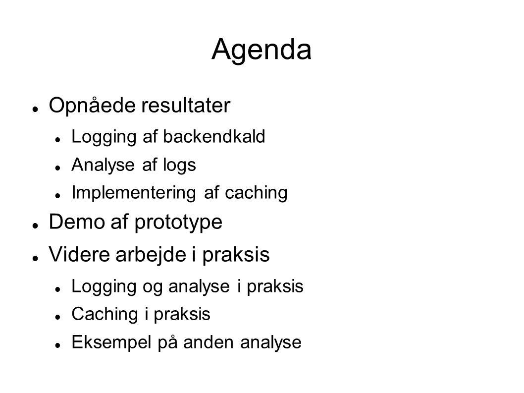 Agenda  Opnåede resultater  Logging af backendkald  Analyse af logs  Implementering af caching  Demo af prototype  Videre arbejde i praksis  Logging og analyse i praksis  Caching i praksis  Eksempel på anden analyse