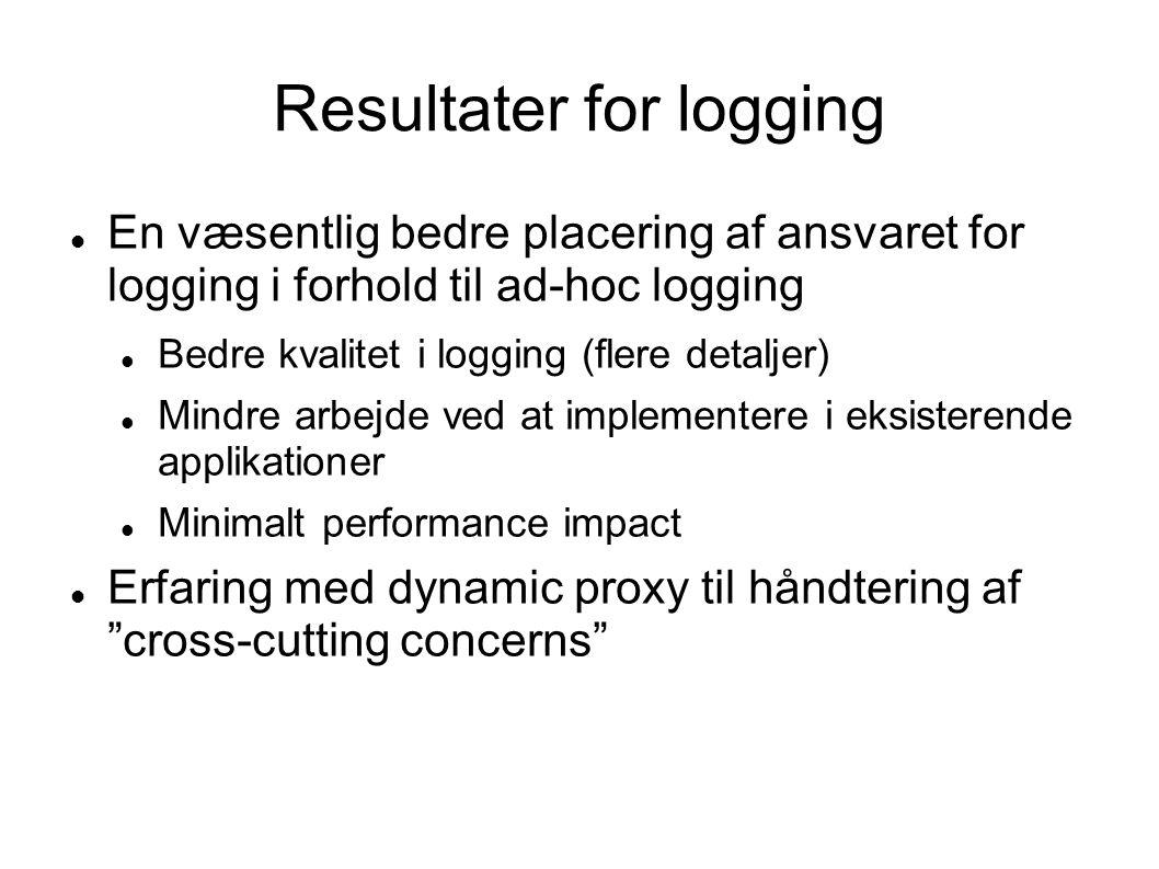 Resultater for logging  En væsentlig bedre placering af ansvaret for logging i forhold til ad-hoc logging  Bedre kvalitet i logging (flere detaljer)  Mindre arbejde ved at implementere i eksisterende applikationer  Minimalt performance impact  Erfaring med dynamic proxy til håndtering af cross-cutting concerns