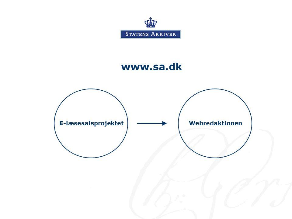 www.sa.dk E-læsesalsprojektetWebredaktionen