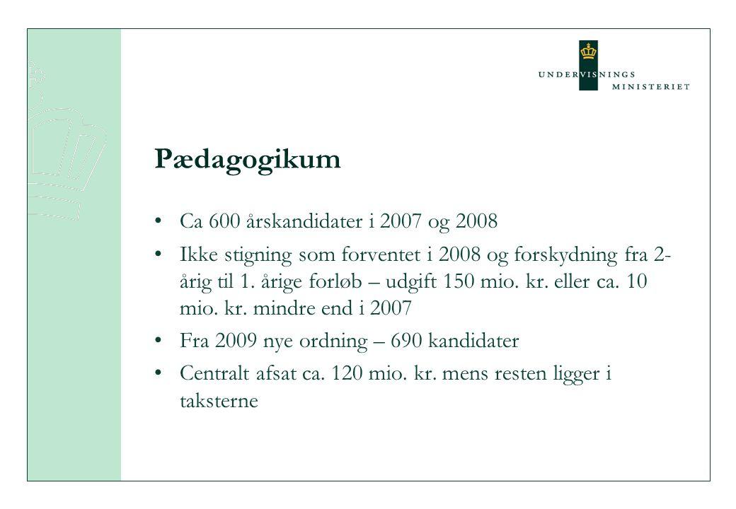 Pædagogikum •Ca 600 årskandidater i 2007 og 2008 •Ikke stigning som forventet i 2008 og forskydning fra 2- årig til 1.