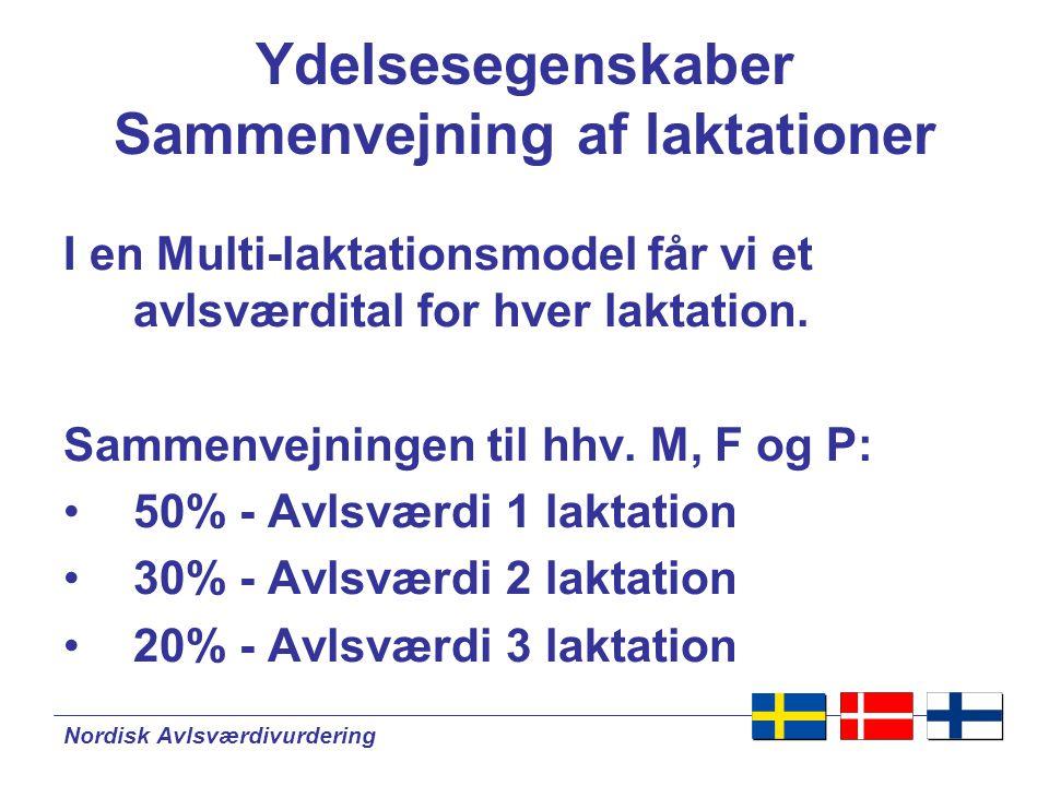 Nordisk Avlsværdivurdering Ydelsesegenskaber Sammenvejning af laktationer I en Multi-laktationsmodel får vi et avlsværdital for hver laktation.