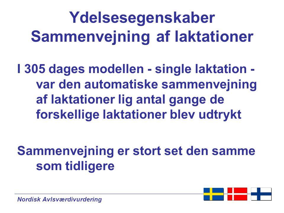 Nordisk Avlsværdivurdering Ydelsesegenskaber Sammenvejning af laktationer I 305 dages modellen - single laktation - var den automatiske sammenvejning af laktationer lig antal gange de forskellige laktationer blev udtrykt Sammenvejning er stort set den samme som tidligere