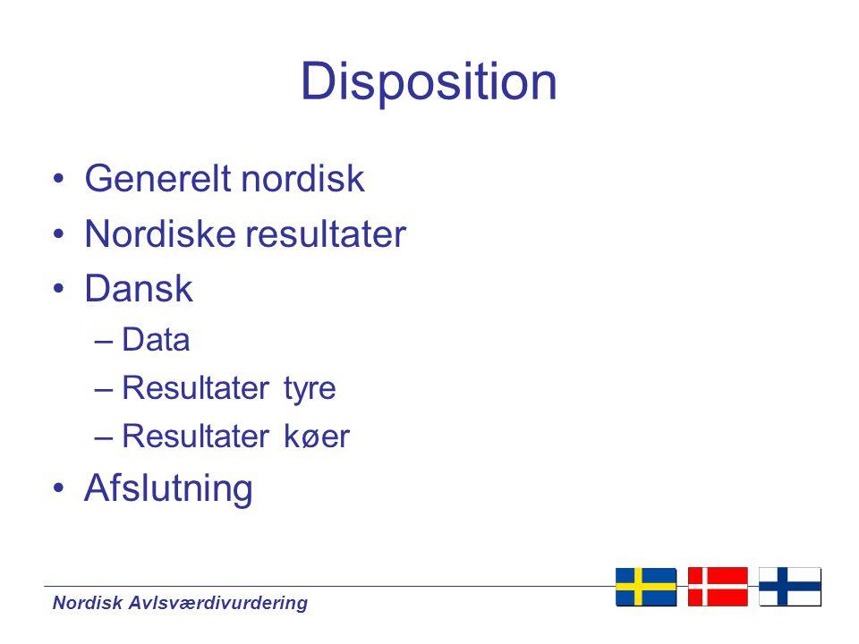 Disposition •Generelt nordisk •Nordiske resultater •Dansk –Data –Resultater tyre –Resultater køer •Afslutning