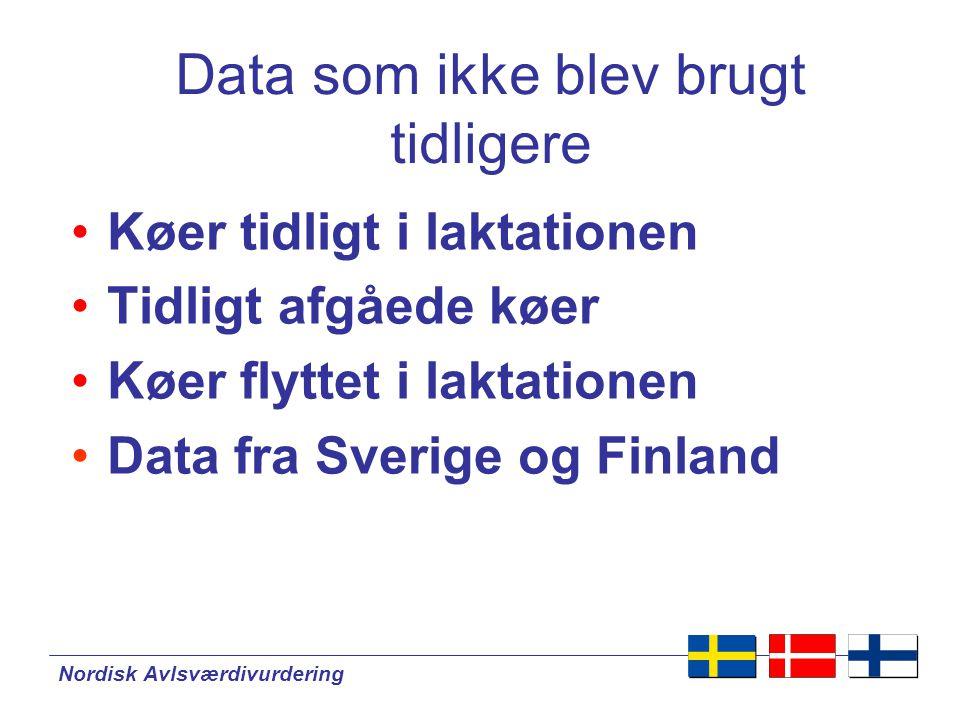 Nordisk Avlsværdivurdering Data som ikke blev brugt tidligere •Køer tidligt i laktationen •Tidligt afgåede køer •Køer flyttet i laktationen •Data fra Sverige og Finland