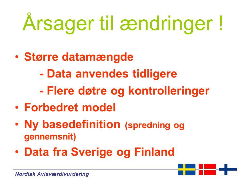 Nordisk Avlsværdivurdering Årsager til ændringer .