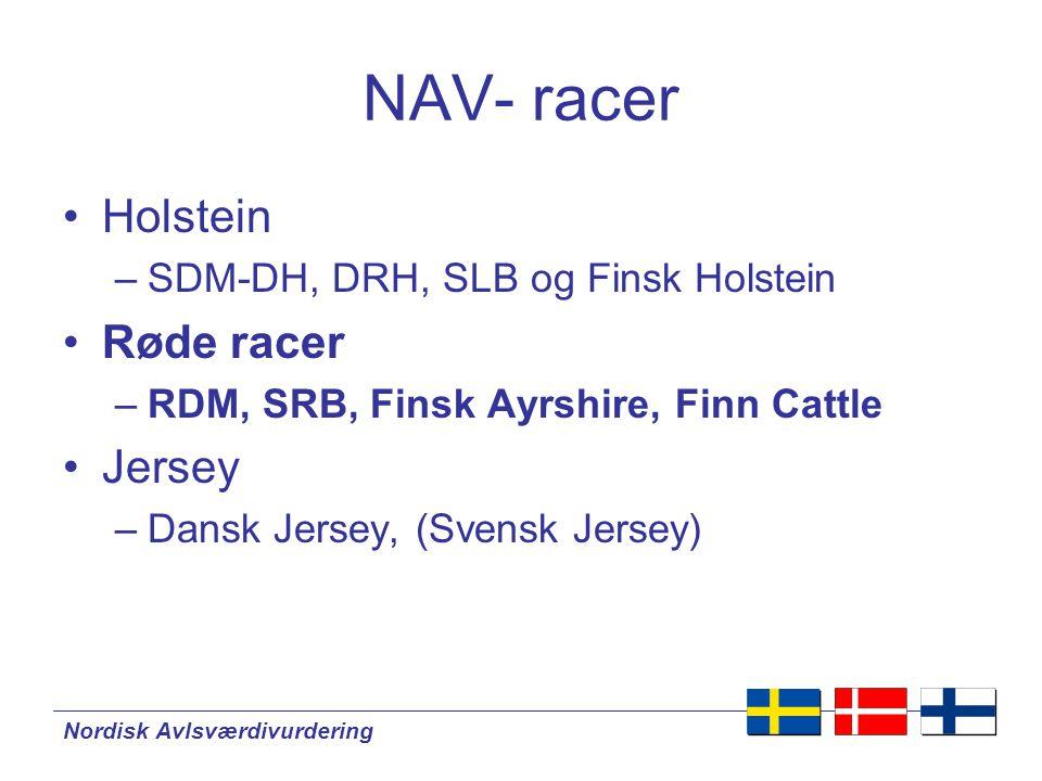 Nordisk Avlsværdivurdering NAV- racer •Holstein –SDM-DH, DRH, SLB og Finsk Holstein •Røde racer –RDM, SRB, Finsk Ayrshire, Finn Cattle •Jersey –Dansk Jersey, (Svensk Jersey)