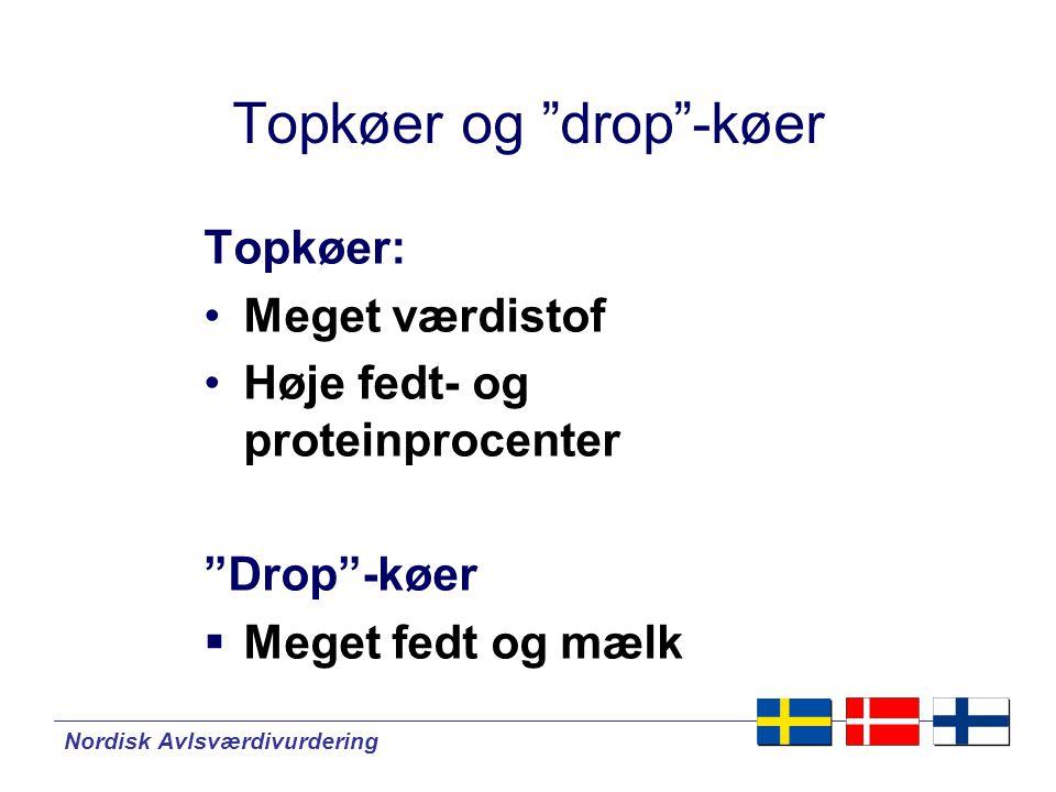 Nordisk Avlsværdivurdering Topkøer og drop -køer Topkøer: •Meget værdistof •Høje fedt- og proteinprocenter Drop -køer  Meget fedt og mælk