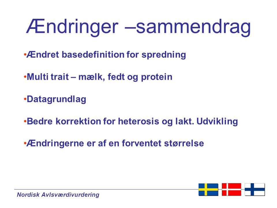 Nordisk Avlsværdivurdering Ændringer –sammendrag •Ændret basedefinition for spredning •Multi trait – mælk, fedt og protein •Datagrundlag •Bedre korrektion for heterosis og lakt.