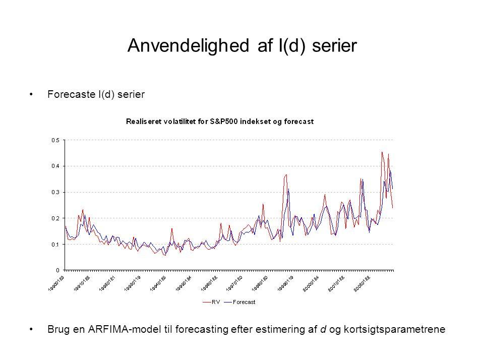 Anvendelighed af I(d) serier •Forecaste I(d) serier •Brug en ARFIMA-model til forecasting efter estimering af d og kortsigtsparametrene