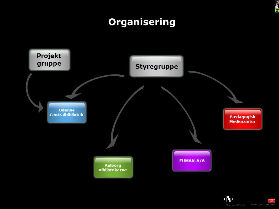 Organisering Styregruppe Odense Centralbibliotek Aalborg Bibliotekerne EUMAN A/S Pædagogisk Mediecenter Projekt gruppe Charlotte Dale – Ikt og Læring