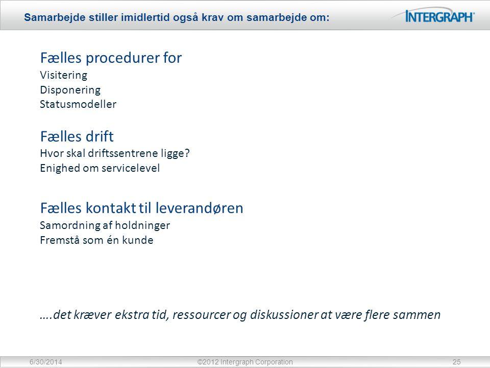 Samarbejde stiller imidlertid også krav om samarbejde om: 6/30/2014©2012 Intergraph Corporation25 Fælles procedurer for Visitering Disponering Statusmodeller Fælles drift Hvor skal driftssentrene ligge.