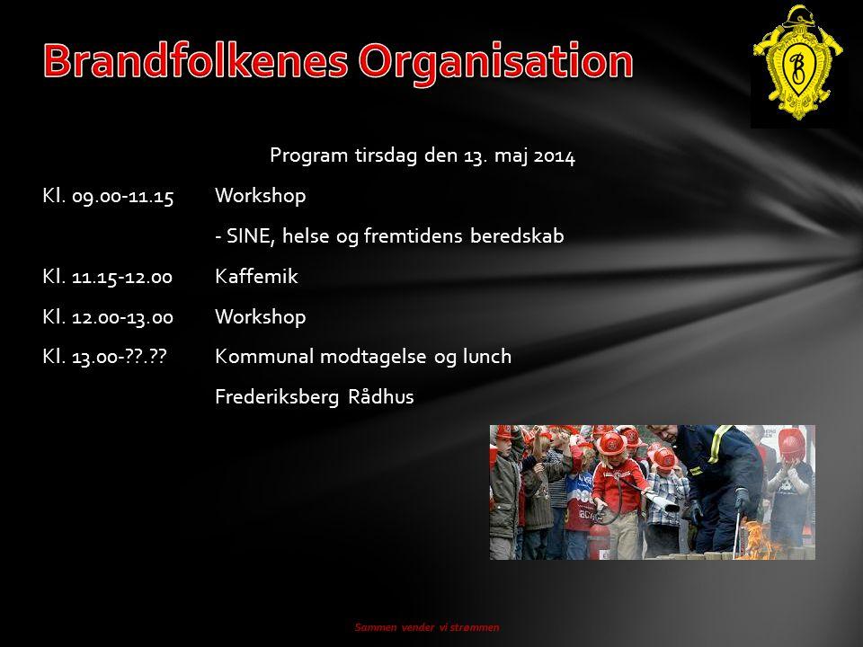 Program tirsdag den 13. maj 2014 Kl. 09.00-11.15Workshop - SINE, helse og fremtidens beredskab Kl.