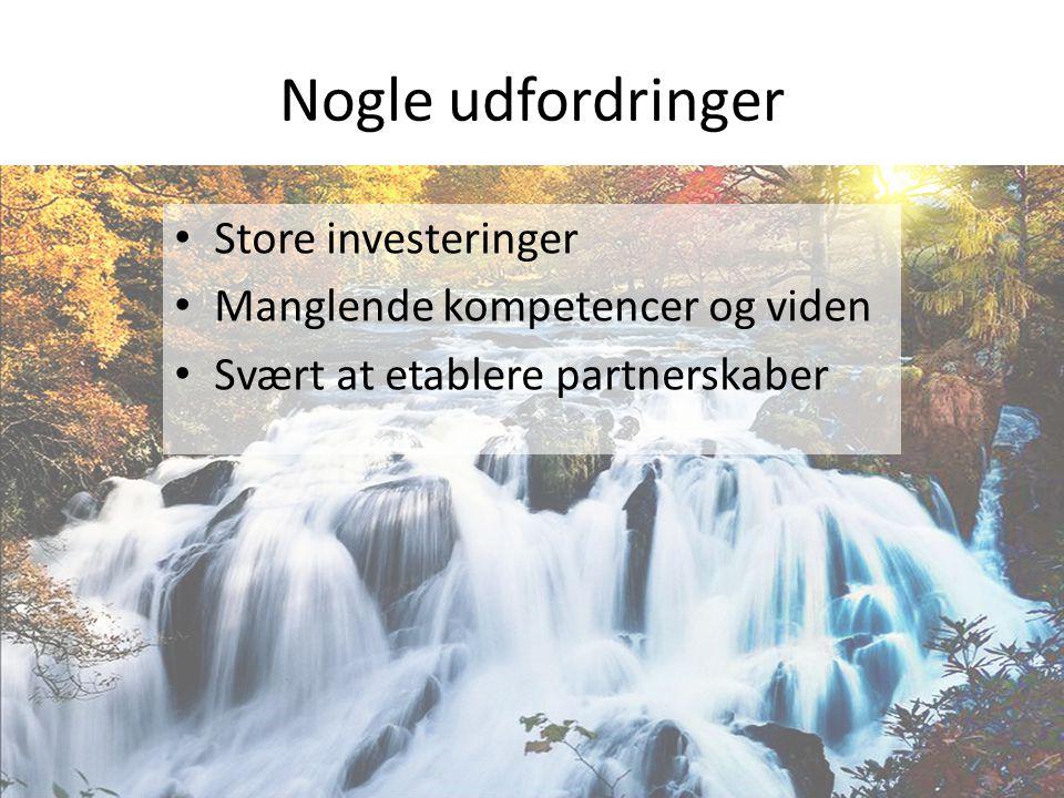 Nogle udfordringer • Store investeringer • Manglende kompetencer og viden • Svært at etablere partnerskaber