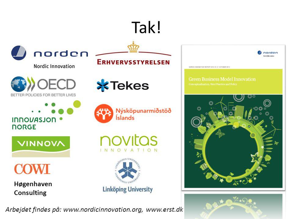 Tak! Arbejdet findes på: www.nordicinnovation.org, www.erst.dk Høgenhaven Consulting