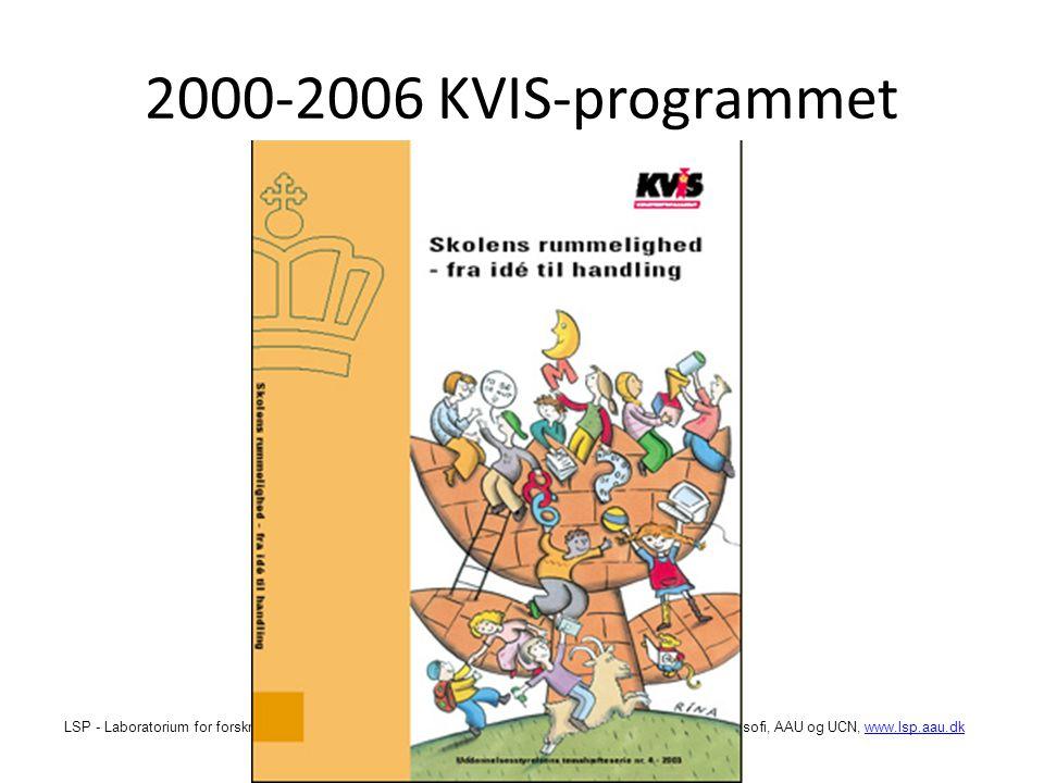 LSP - Laboratorium for forskningsbaseret skoleudvikling og pædagogisk praksis, Institut for Læring og Filosofi, AAU og UCN, www.lsp.aau.dkwww.lsp.aau.dk 2000-2006 KVIS-programmet