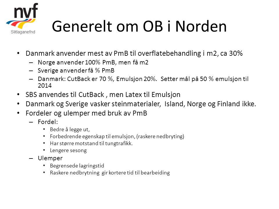 Generelt om OB i Norden • Danmark anvender mest av PmB til overflatebehandling i m2, ca 30% – Norge anvender 100% PmB, men få m2 – Sverige anvender få % PmB – Danmark: CutBack er 70 %, Emulsjon 20%.