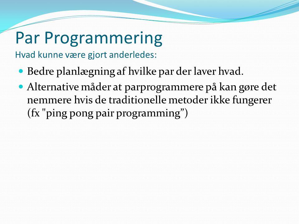 Par Programmering Hvad kunne være gjort anderledes:  Bedre planlægning af hvilke par der laver hvad.