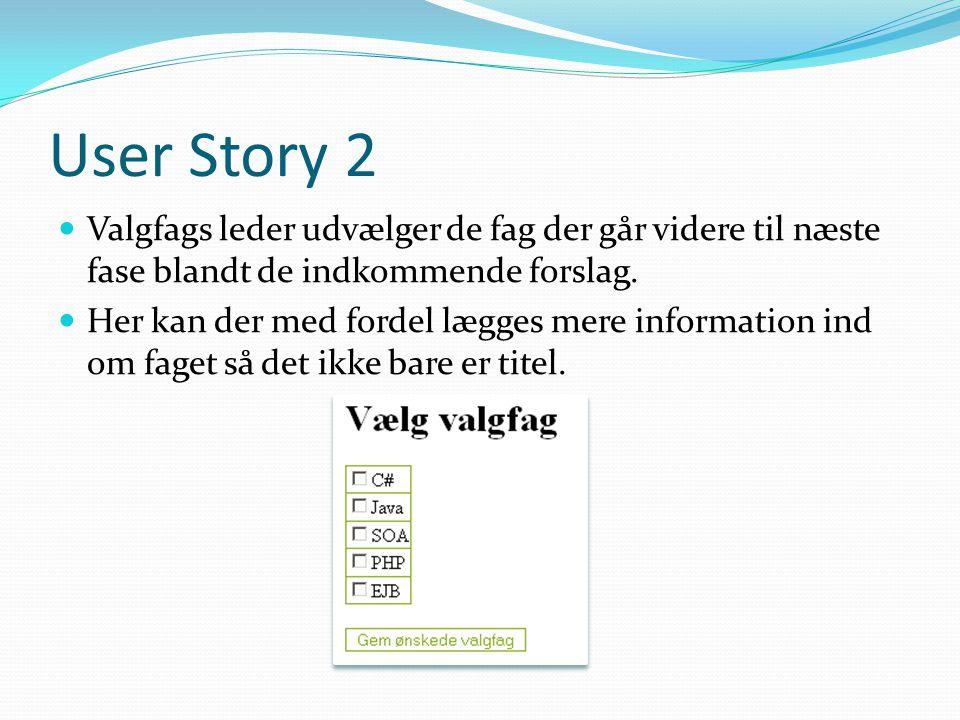 User Story 2  Valgfags leder udvælger de fag der går videre til næste fase blandt de indkommende forslag.