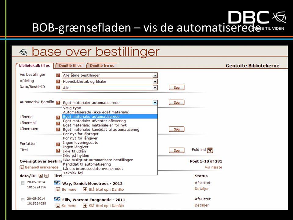 BOB-grænsefladen – vis de automatiserede