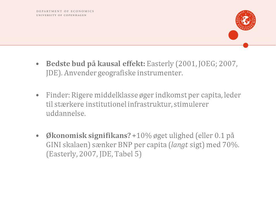 •Bedste bud på kausal effekt: Easterly (2001, JOEG; 2007, JDE).