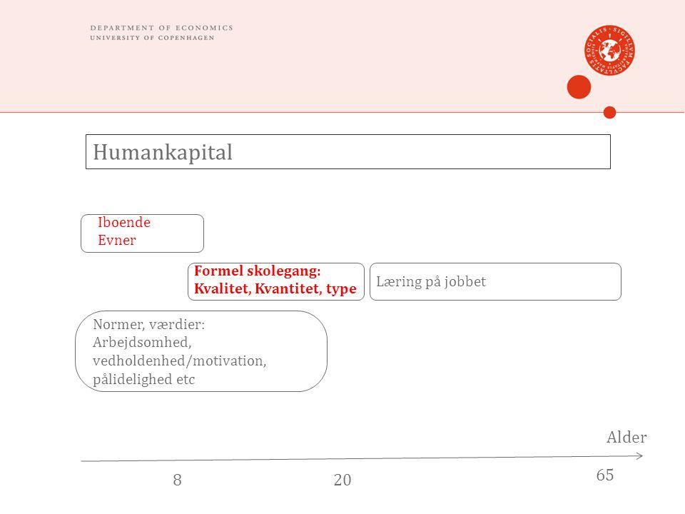 Humankapital Alder 820 65 Iboende Evner Formel skolegang: Kvalitet, Kvantitet, type Læring på jobbet Normer, værdier: Arbejdsomhed, vedholdenhed/motivation, pålidelighed etc