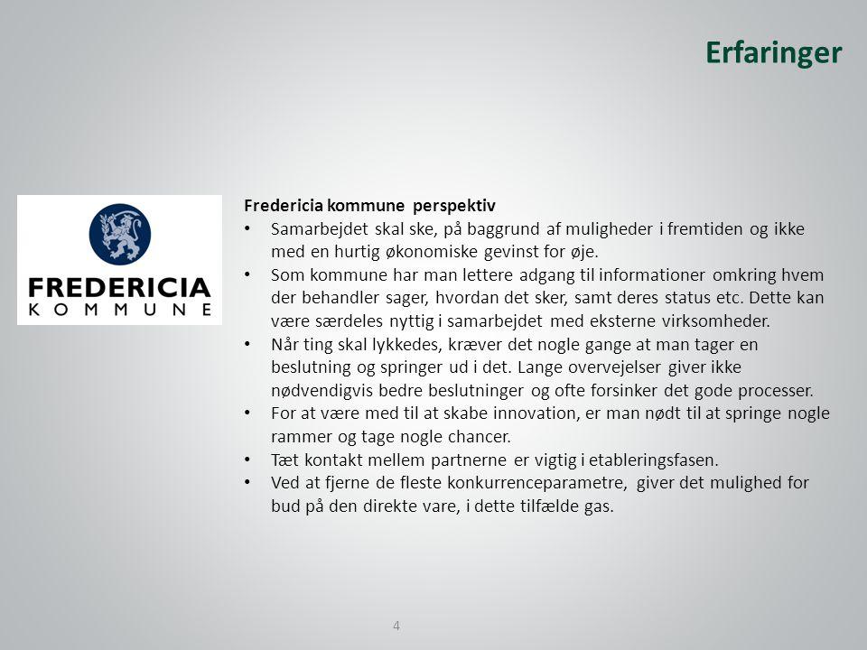 Fredericia kommune perspektiv • Samarbejdet skal ske, på baggrund af muligheder i fremtiden og ikke med en hurtig økonomiske gevinst for øje.