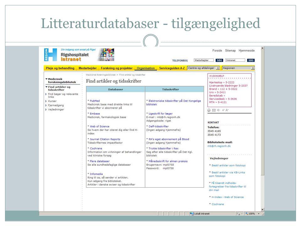 Litteraturdatabaser - tilgængelighed