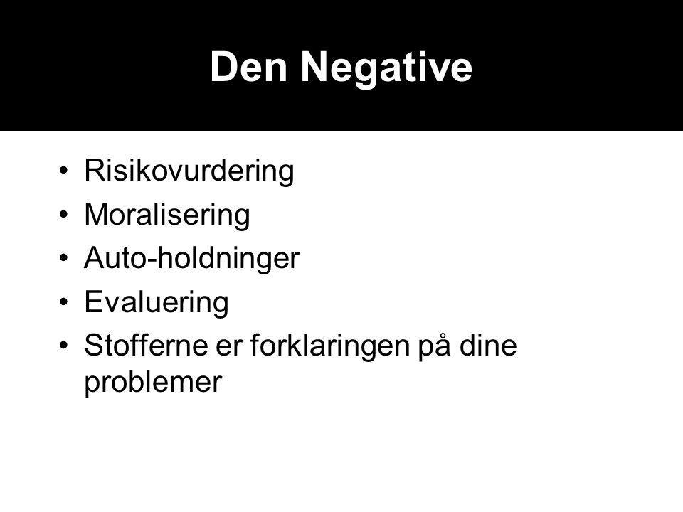 Den Negative •Risikovurdering •Moralisering •Auto-holdninger •Evaluering •Stofferne er forklaringen på dine problemer