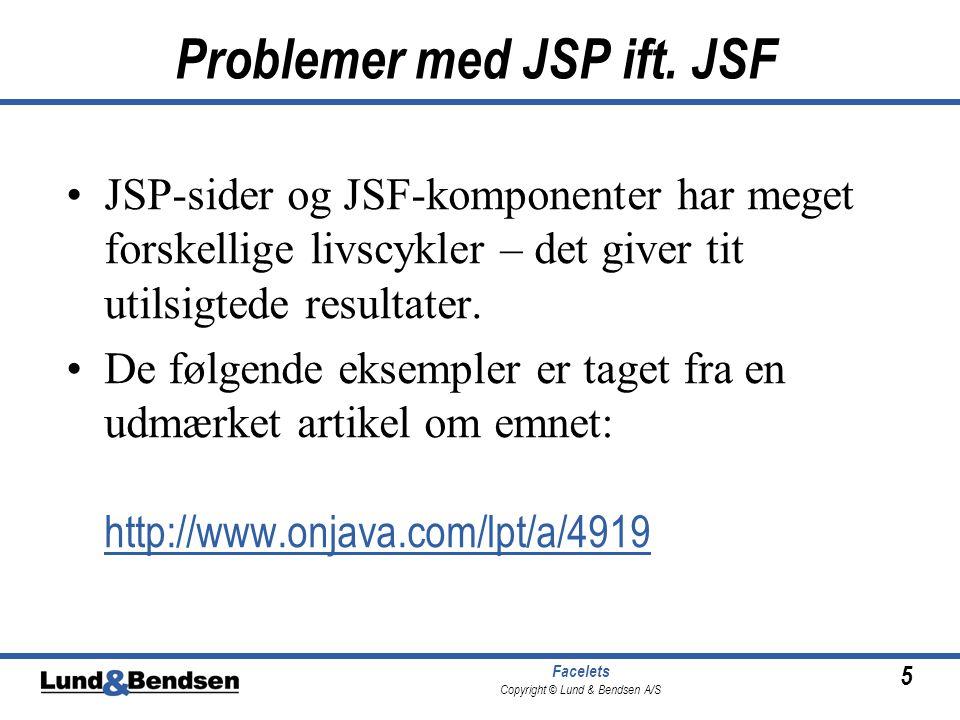 5 Facelets Copyright © Lund & Bendsen A/S Problemer med JSP ift.