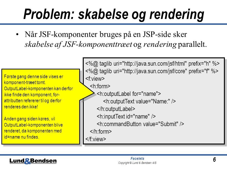 6 Facelets Copyright © Lund & Bendsen A/S Problem: skabelse og rendering •Når JSF-komponenter bruges på en JSP-side sker skabelse af JSF-komponenttræet og rendering parallelt.