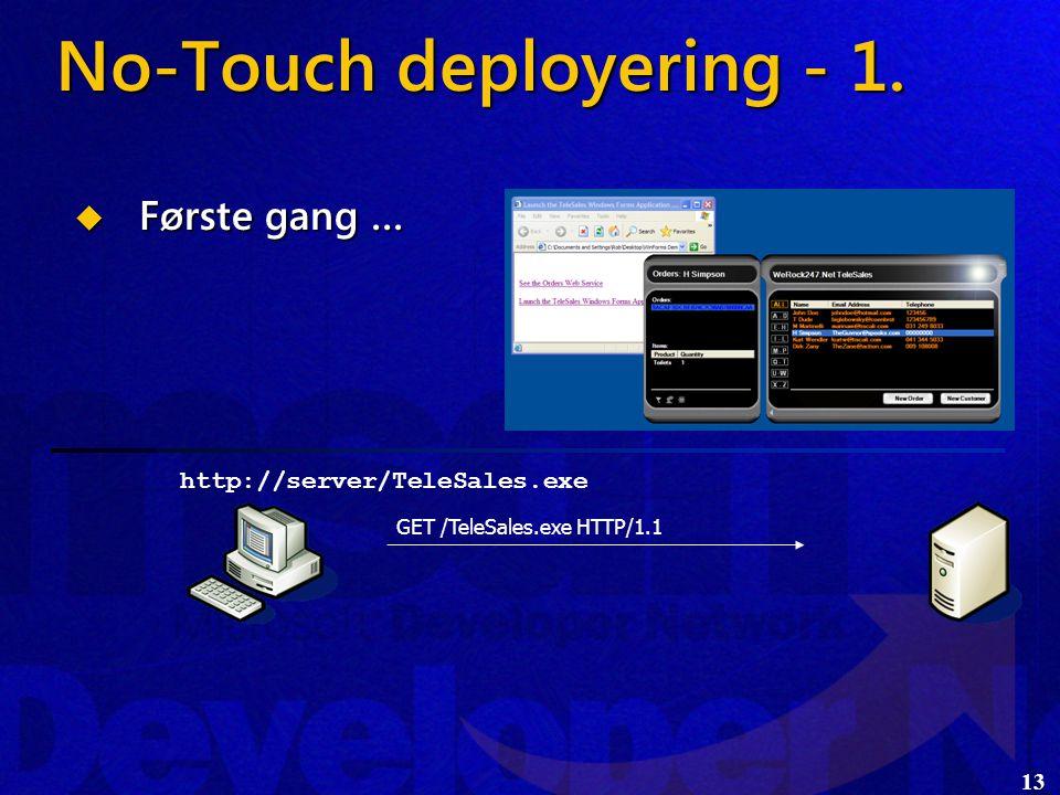 13  Første gang … http://server/TeleSales.exe GET /TeleSales.exe HTTP/1.1 No-Touch deployering - 1.