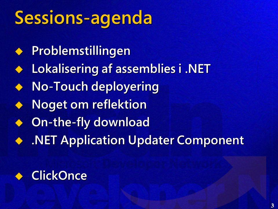 3 Sessions-agenda  Problemstillingen  Lokalisering af assemblies i.NET  No-Touch deployering  Noget om reflektion  On-the-fly download .NET Application Updater Component  ClickOnce