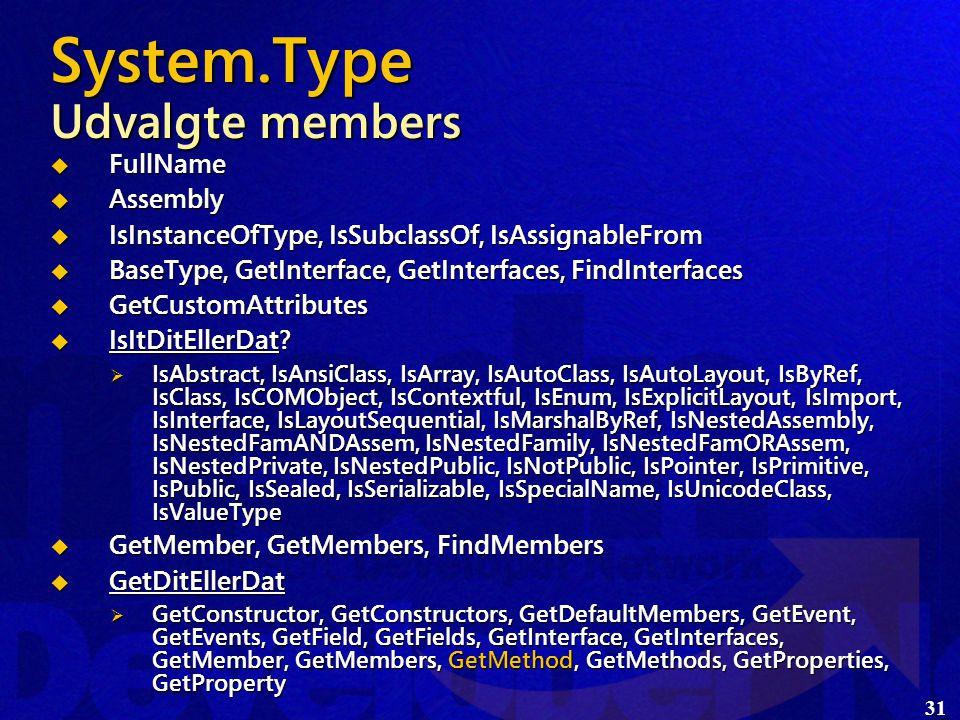 31 System.Type Udvalgte members  FullName  Assembly  IsInstanceOfType, IsSubclassOf, IsAssignableFrom  BaseType, GetInterface, GetInterfaces, FindInterfaces  GetCustomAttributes  IsItDitEllerDat.