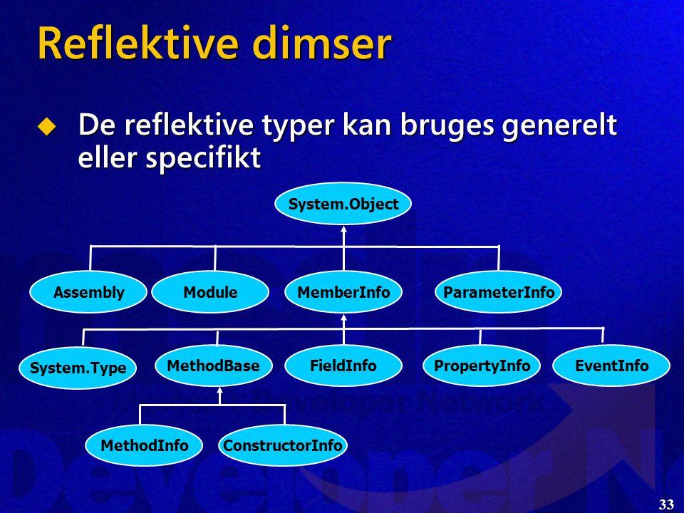 33 Reflektive dimser  De reflektive typer kan bruges generelt eller specifikt System.Object EventInfoPropertyInfoFieldInfoMethodBase System.Type ParameterInfoMemberInfoModuleAssembly MethodInfoConstructorInfo
