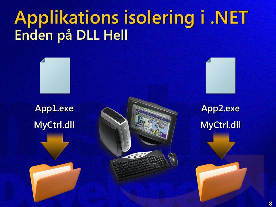 8 Applikations isolering i.NET Enden på DLL Hell App1.exeMyCtrl.dll App2.exeMyCtrl.dll