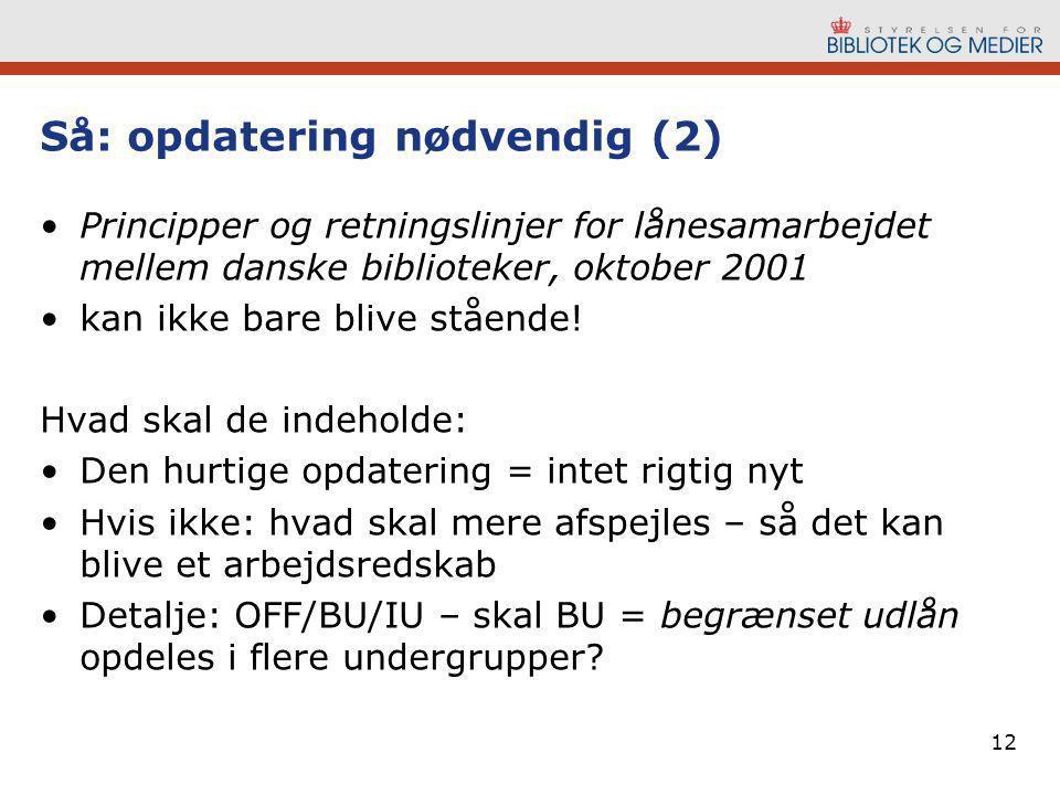 12 Så: opdatering nødvendig (2) •Principper og retningslinjer for lånesamarbejdet mellem danske biblioteker, oktober 2001 •kan ikke bare blive stående.