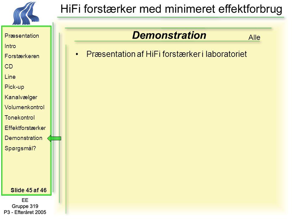 Præsentation Intro Forstærkeren CD Line Pick-up Kanalvælger Volumenkontrol Tonekontrol Effektforstærker Demonstration Spørgsmål.