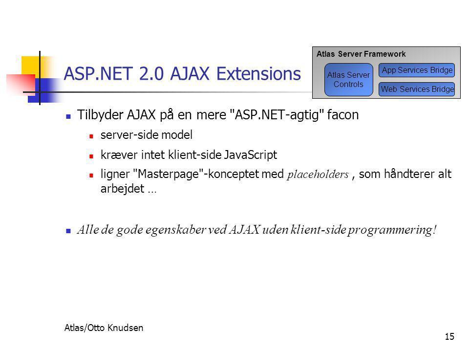 Atlas/Otto Knudsen 15 ASP.NET 2.0 AJAX Extensions  Tilbyder AJAX på en mere ASP.NET-agtig facon  server-side model  kræver intet klient-side JavaScript  ligner Masterpage -konceptet med placeholders, som håndterer alt arbejdet …  Alle de gode egenskaber ved AJAX uden klient-side programmering.