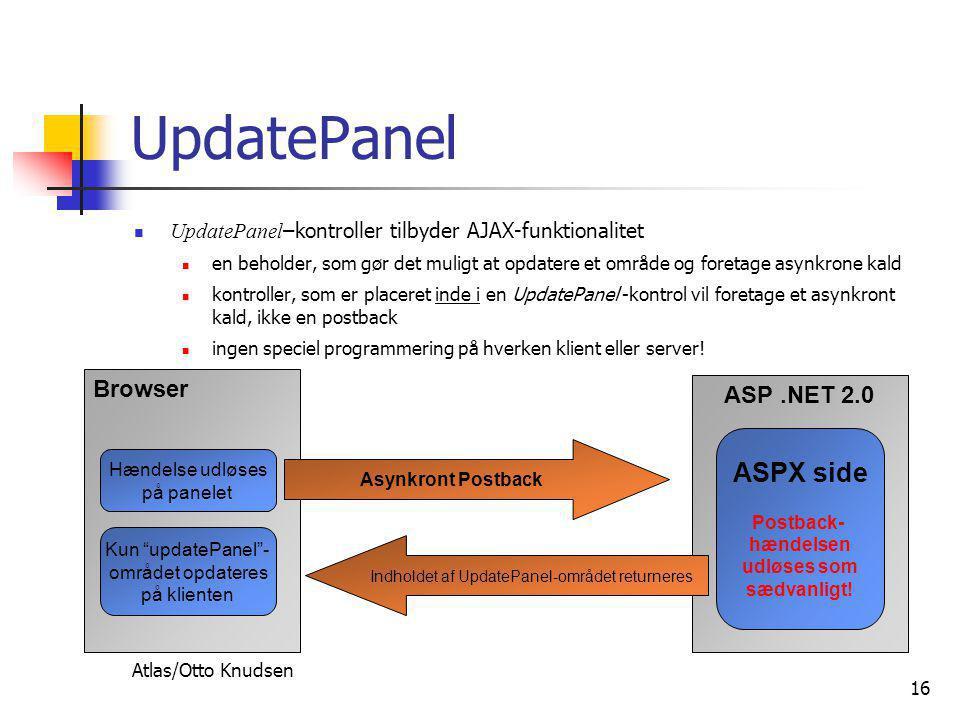 Atlas/Otto Knudsen 16 UpdatePanel  UpdatePanel –kontroller tilbyder AJAX-funktionalitet  en beholder, som gør det muligt at opdatere et område og foretage asynkrone kald  kontroller, som er placeret inde i en UpdatePanel -kontrol vil foretage et asynkront kald, ikke en postback  ingen speciel programmering på hverken klient eller server.