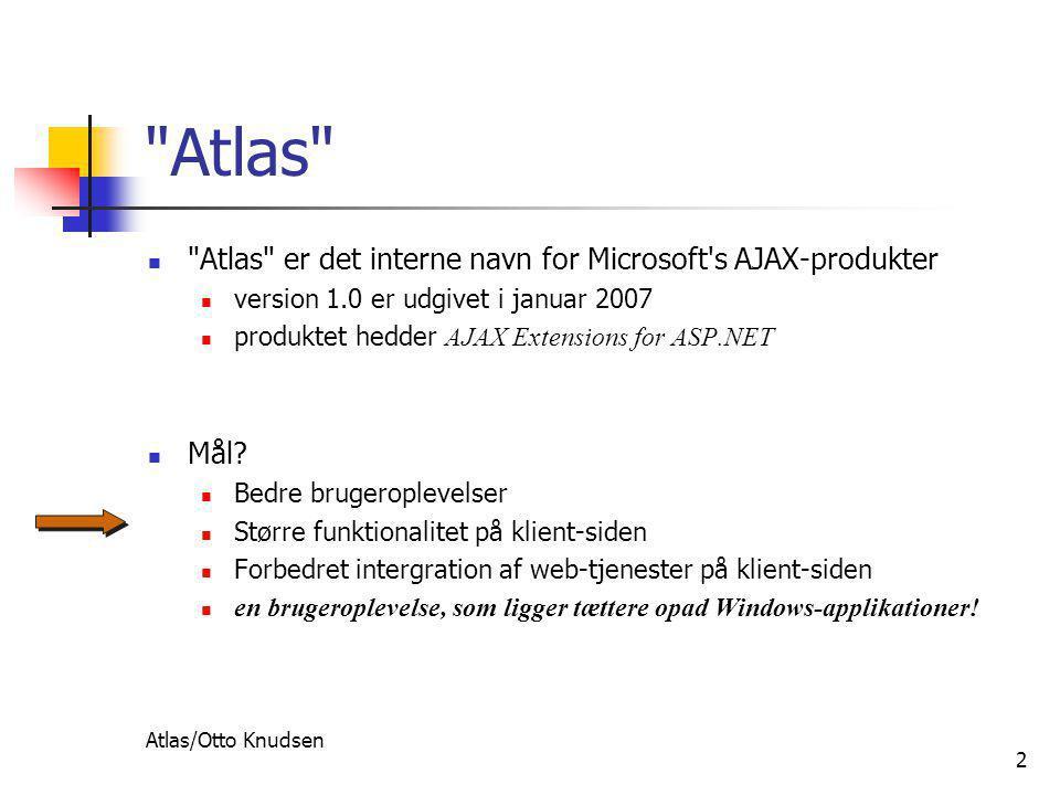 Atlas/Otto Knudsen 2 Atlas  Atlas er det interne navn for Microsoft s AJAX-produkter  version 1.0 er udgivet i januar 2007  produktet hedder AJAX Extensions for ASP.NET  Mål.